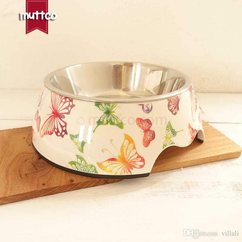 high quality detachable dual antiskid Stainless steel butterfly pet drinker dog bowl DB-007