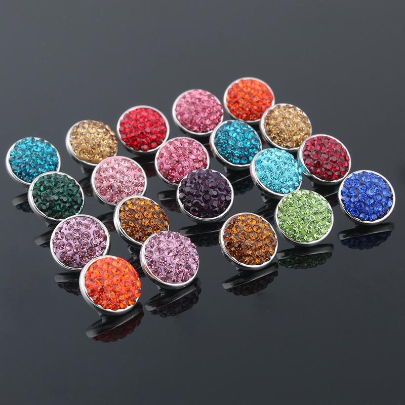 Wholesale- 10pcs / lot Misto 12mm di cristallo di rocca con bottoni a pressione con bottone in rame per bracciali e ciondoli gioielli in collana ZL001
