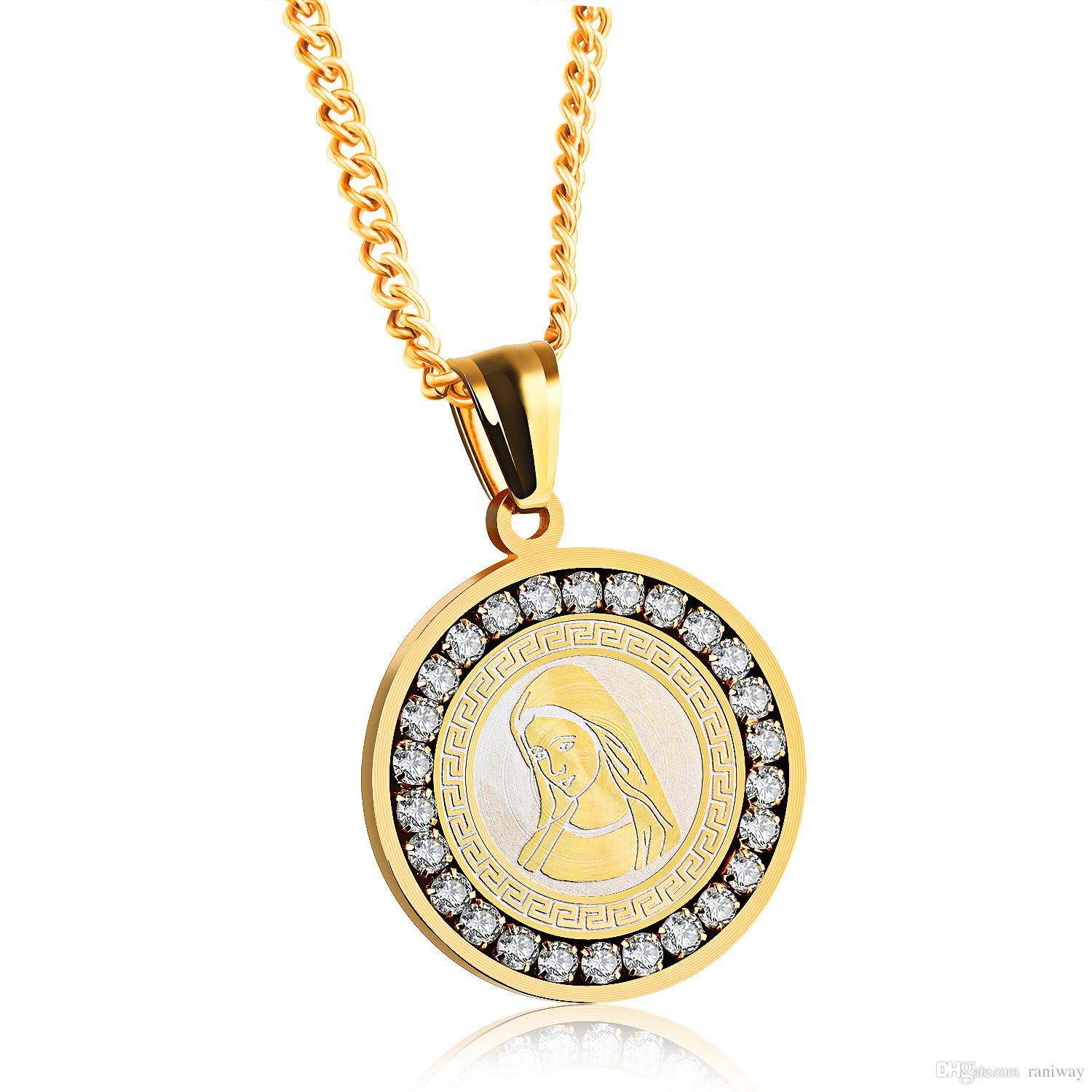 Fashion Mens Womens Virgin Mary Stainless Steel Catholic Medalla Cubic Zirconia Round Pendant Necklace High Polish Perfect Gift
