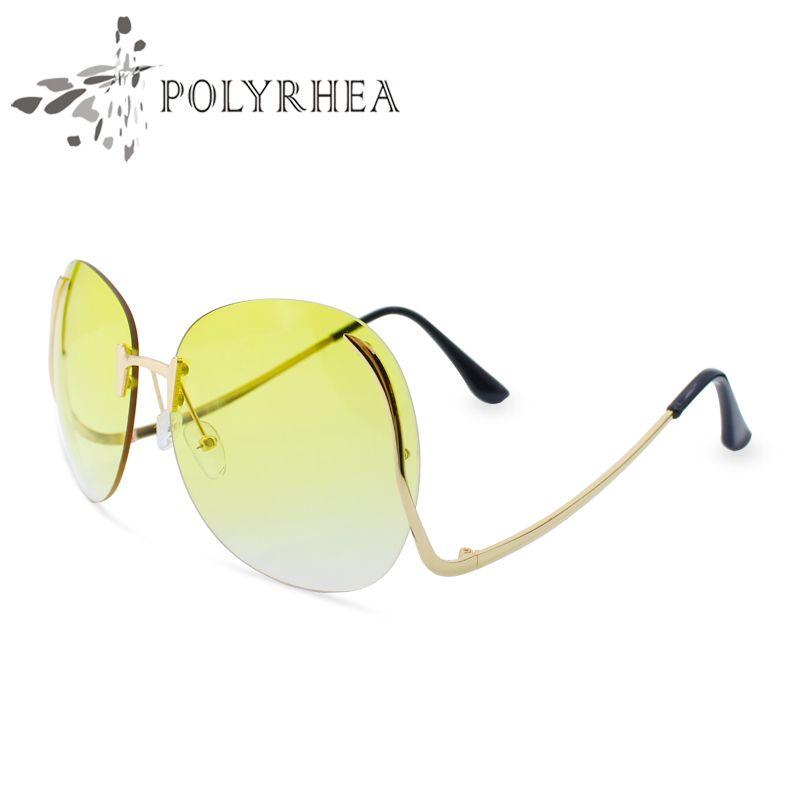 2018 Boy Yuvarlak Çerçevesiz Güneş Gözlüğü Kadın Marka Tasarımcısı Güneş Gözlükleri UV400 Vintage Yuvarlak Gözlük Bükülmüş Çerçeve Güneş Gözlüğü Ile Kutusu Lljst