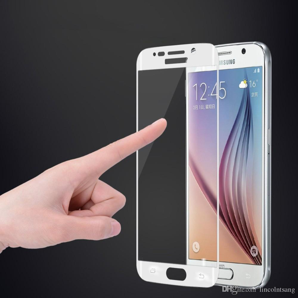 Toptan 50 adet / grup 3D Tam Kapak Yüksek Kalite Ultra-ince Gerçek Temperli Cam Ekran Koruyucu Samsung Galaxy S6 S7 kenar ...