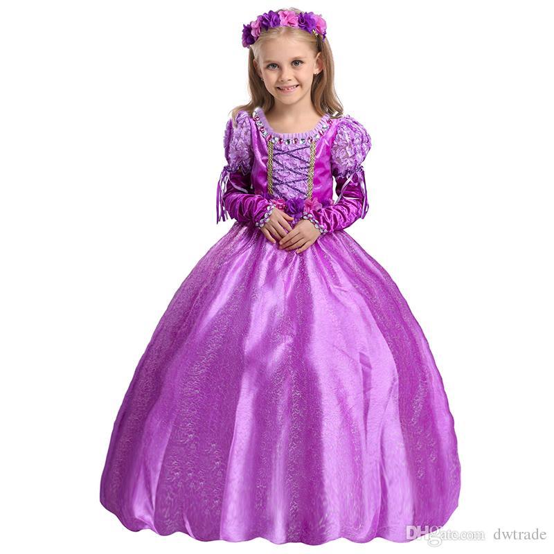 طفل رابونزيل تأثيري حلي الأميرة اللباس هالوين زي للفتيات طويل كرنفال مساء حزب فساتين فتاة