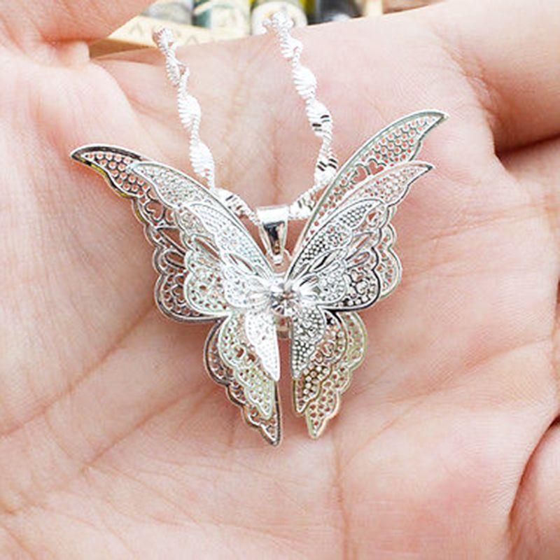 Regalo dei monili del pendente della collana della farfalla placcata argento di modo squisito 1Pc