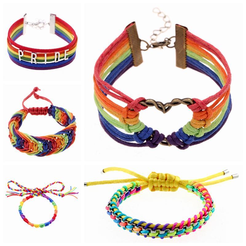 Gros-2016 Pulsera Gay Pride multicolores « PRIDE » bracelets en cuir bijoux de couleur chaude bracelets lesbiennes pour collares hommes et les femmes