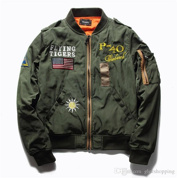 Hot Sale Mens Spring MA1 Pilot Bomber Jacket Thin Military Army Flying Tigers Cool Baseball Flight Jacket