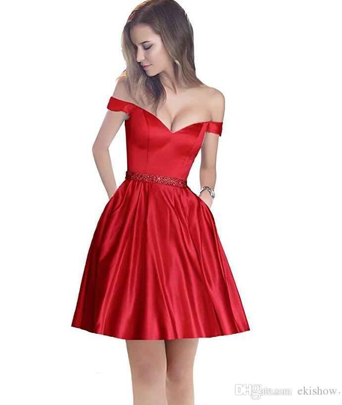 2017 V Neck Off The Shoulder Beaded Waist Evening Dress Party With Pocket A Line Short Prom Dresses For Juniors Homecoming Custom Made
