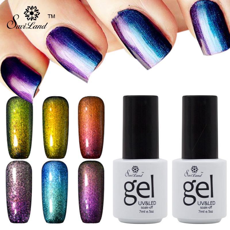 Wholesale- Saviland 1pcs Semi Permanent 3D Glitter Chameleonic Uv Gelfirnisse Esmaltes glänzende bunte Wechsel LED Gel-Nagellack