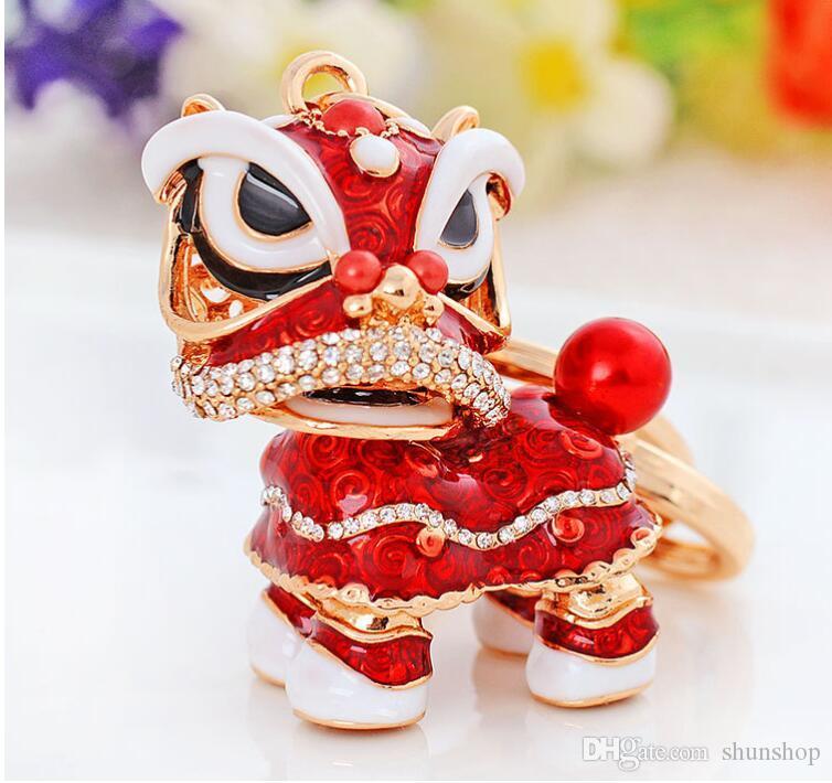 Cinese Leone Dance Style Popolare Lega Drip Drip Keychain Lion Portachiavi auto chiave anelli ornamenti Boutique all'ingrosso