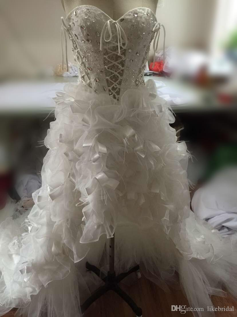 Wonderful High Low Bridal Dress Lace with Crystals Corset Back White Feather Wedding Dress Custom Made Discount Wedding Dress A Line 2019