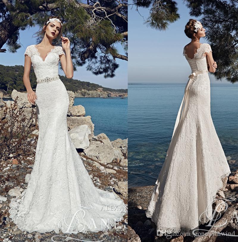 Vintage Lace Mermaid Beach Wedding Dresses 2017 Cap Sleeves V ...