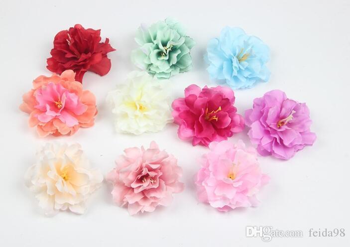 9 cm fiore di seta artificiale peonia rosa teste per capelli decorazione della festa nuziale artigianale floreale G626