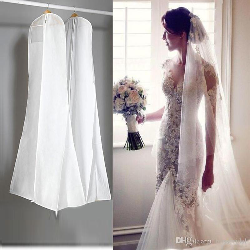في المخزون كبير 180 سنتيمتر فستان الزفاف ثوب حقائب عالية الجودة الأبيض الغبار حقيبة طويلة الملابس غطاء السفر التخزين الغبار يغطي حار بيع
