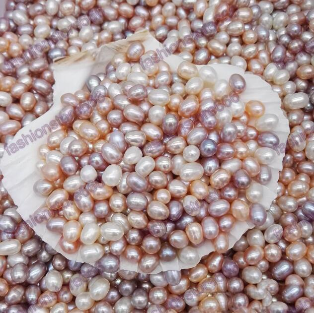 High Quality 6-7MM Oval Pearls Seed Beads 3colors White Pink Purple Loose Freshwater Pearls For Jewelry Making Supplies Cheap Jewelry