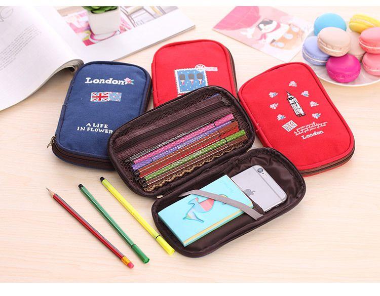 Wholesale-New england canvas pencil bag Big capacity zipper Pencil Case Storage Organizer Bag for kids gift School Supply Escolar