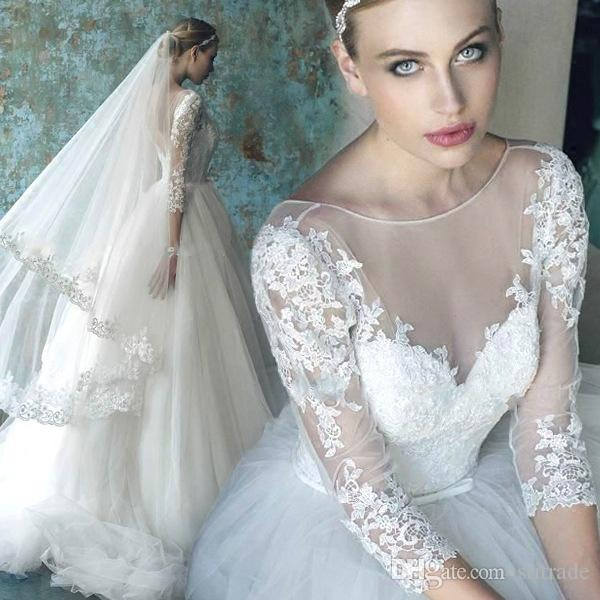 2017 Vintage Country Lace Plus Size Wedding Dresses Bateau Neck 3/4 Long Sleeve Wedding Bridal Gown Cheap Custom Made Sweep Train