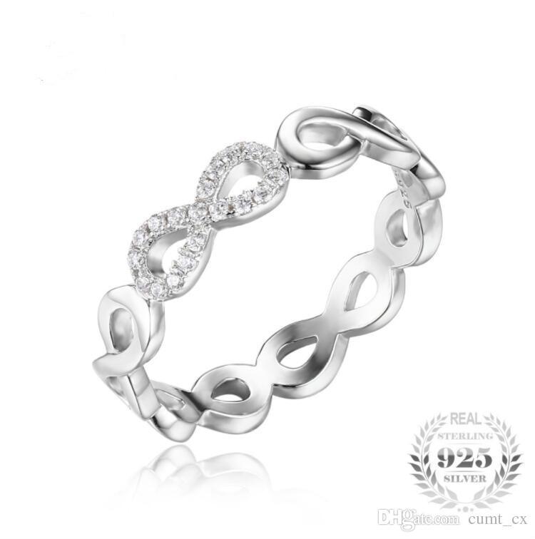 Jóias Infinito Para Sempre Amor Aniversário Promessa Anel Pure 925 Sterling Silver Jewelry Para Mulheres Presente Frete Grátis