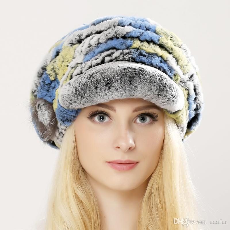 Women Genuine Fur Hats Knitted Rex Rabbit Fur Russian Hat Free Shipping Natural Stripe Fur Caps Lady Winter Warm Headwear Cap