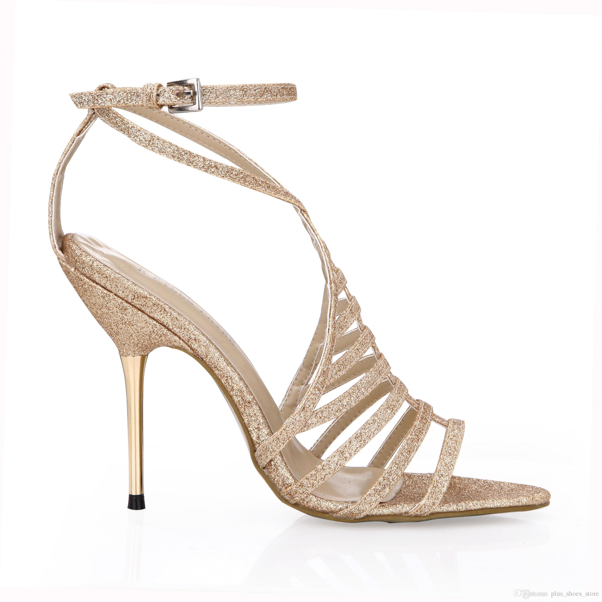 Gold Sandals Women Summer Style Ladies Party Shoes 2017 Real Image Metal Thin Heels Wedding Shoes Zapatos Mujer Ladies Shoes