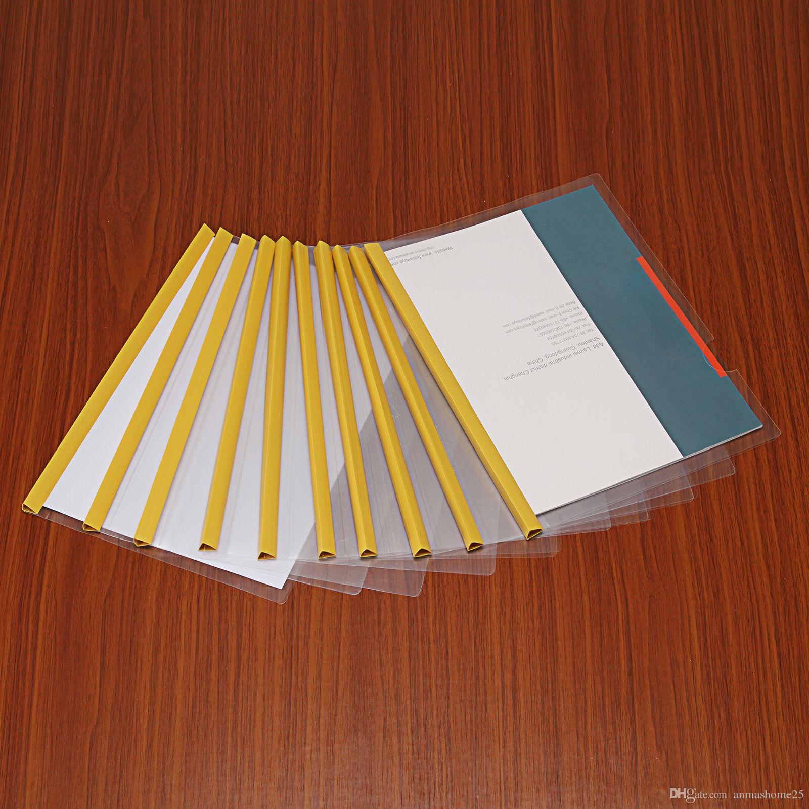 Vendita calda !!! Cartelle di file di barra di scorrimento di plastica trasparente 10pcs / set Copertine di carta formato A4 spedizione gratuita