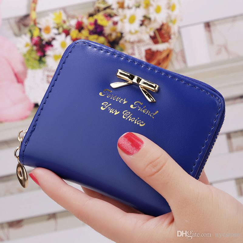 Lady Coin Bag Simple Bowknot Wallet Zipper Small Wallets Short ...