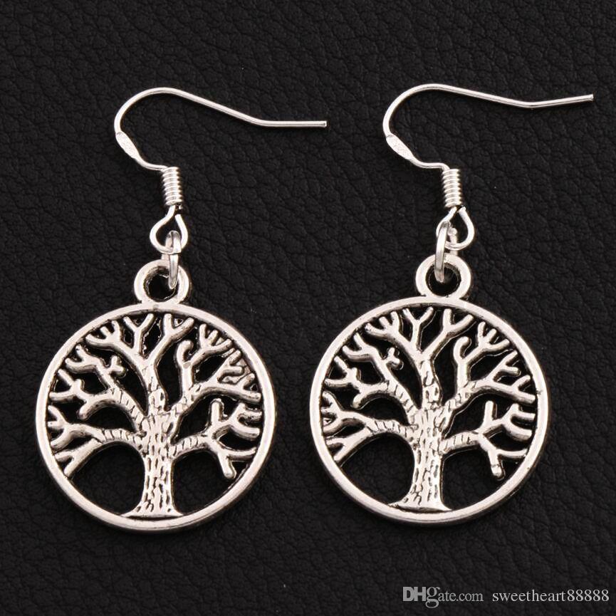 Orecchini Tree of Life in argento 925 gancio per pesci in argento 40 paia / lotto lampadario in argento antico E463 20x40mm