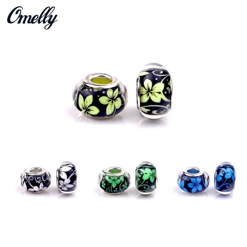 Perline europee argento riempito di gioielli in vetro fiore fare a mano perline di vetro murano charms braccialetto fai da te all'ingrosso a buon mercato