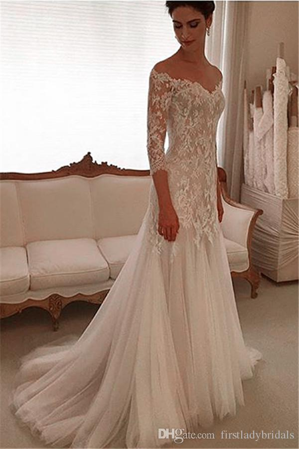 Sleeved Wedding Gowns Sheath Lace And Tulle Off The Shoulder Custom Made Bridal Dresses Vestido De Noiva Princesa Wedding Dresses For Sale Wedding