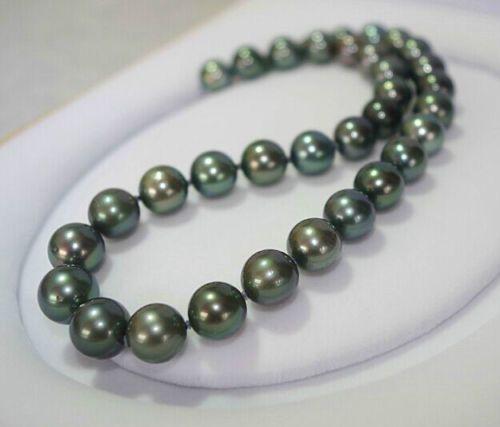 Livraison gratuite tunning 9-9.5mm paon Tahitian naturel collier de perles rond vert 18 pouces