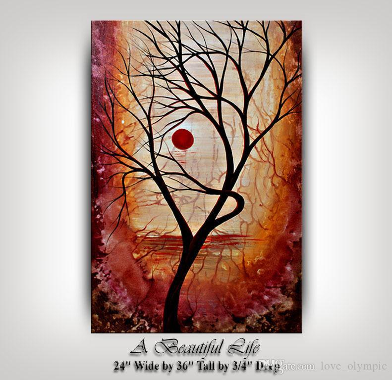 """Emoldurado uma arte """"linda vida"""" Arte de parede de outono Outono Autumn Art, Handpainted Paisagem Abstrato Decoração de Casa Art Painting Pintura A óleo Multi Tamanhos Ab077"""
