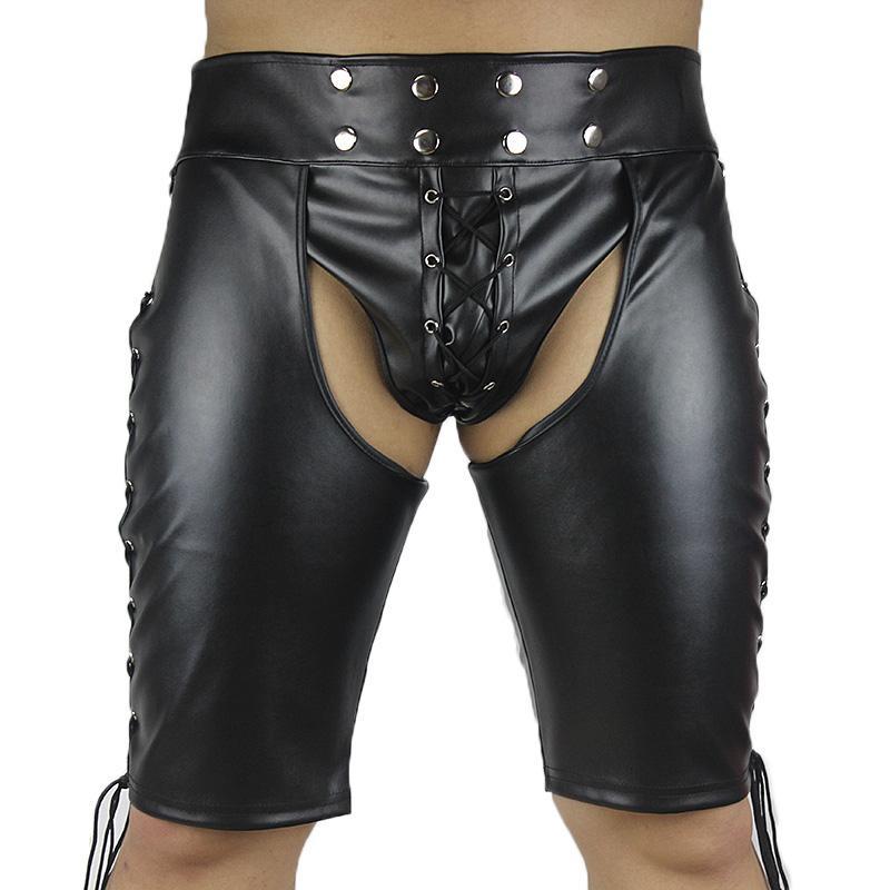 Плюс размер черный искусственной кожи фетиш одежда Mooning трусы для взрослых игры флирт секс-игрушки для пар сексуальные шорты продукты секса новый 17901