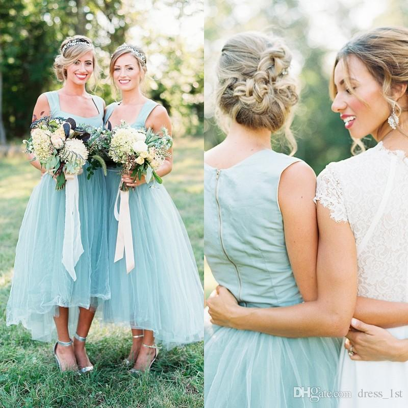 Romantic 2017 Scoop Satin Top Tulle Skirt High Low Country Bridesmaid Dresses Cheap Tea Length Maid Of Honor Dress Custom Made EN10910