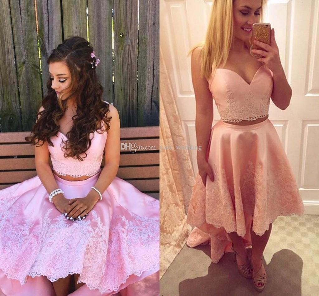 Blush Pink Two Piece Prom Dresses Sweetheart Appliques Lace Satin Backless High Low Abiti da festa