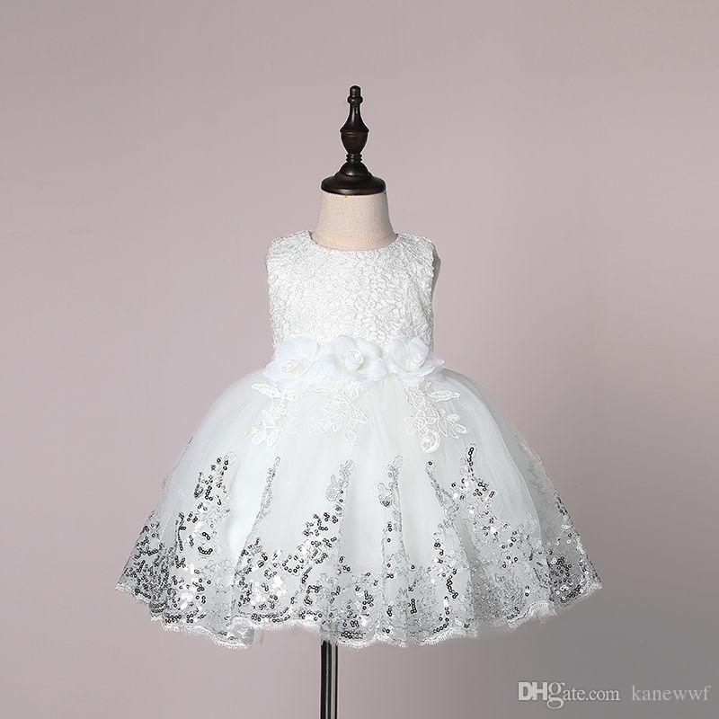 Mädchen Kleid für Kinder 2017 Sommer 3D Blume Blume Sleeveless Pailletten Baby Tutu Kleid Mode Bowknot Kinder Prinzessin Party Kleid 7-24m