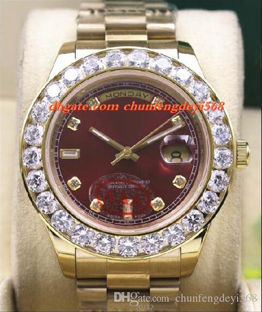 ファッション高級腕時計18Kイエローゴールドブラウンダイヤル41mm 18038より大きなダイヤモンドベゼル自動運動男性は最高品質を見ます