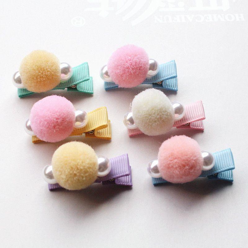 30pc / lot Delicated ragazze lana capelli della perla della clip superiore tornante Kid Barrette morbida Korear prese dei capelli Cute Pink Peach Copricapo