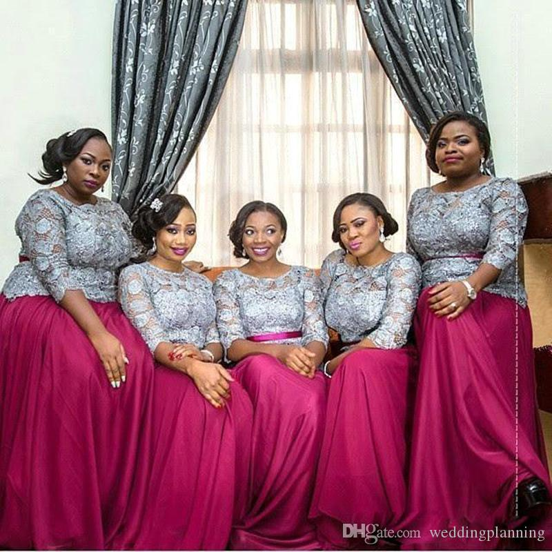2017 African Top Gray Fuschia Long Sleeves Bridesmaid Dresses Plus Size Chiffon Lace Bridesmaids Dress Maid Of Honor Prom Evening Gowns