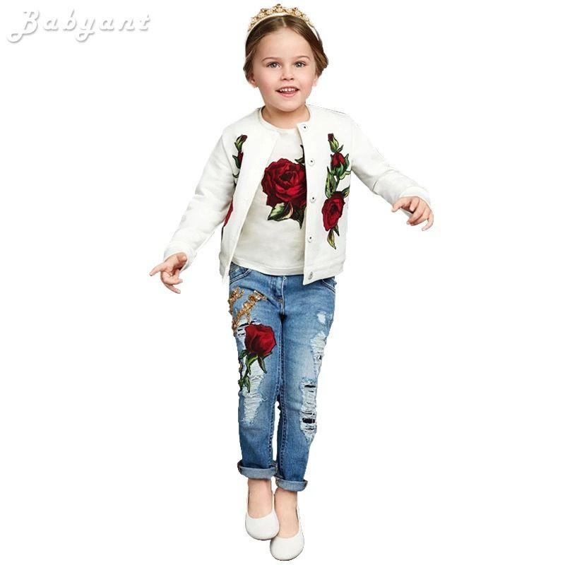 Atacado-2020 Primavera / Outono Moda limão / Rose Impressão set crianças roupas 3-13Y roupa dos miúdos t-shirt das meninas Roupa 3pc + casaco + calça jeans