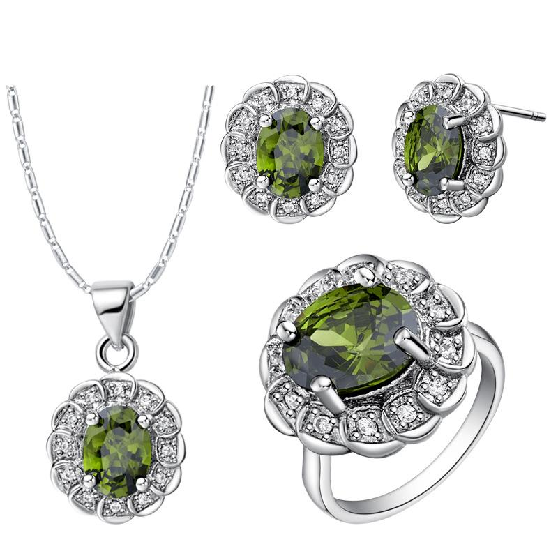 925 Sterling Silver pendant Earrings ring Women Gift word Jewelry sets NEW suit made high-grade fashion crystal diamond suit suit