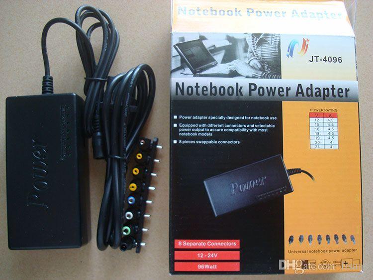 96 W Universale Alimentazione del computer portatile 110-220 v AC a DC 12 V / 16 V / 20 V / 24 V Adattatore Per Laptop / Notebook Spedizione Gratuita 30 pz / lotto