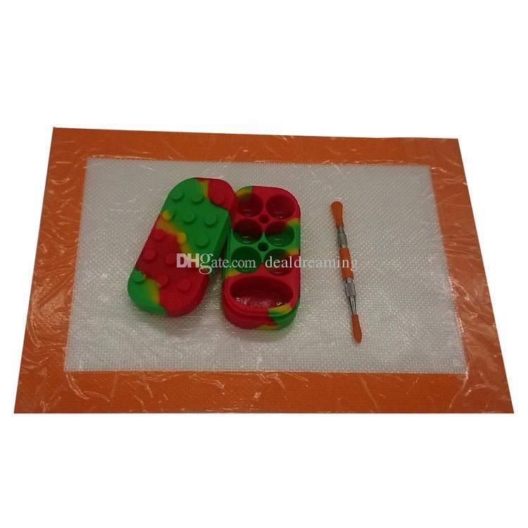 300 * 210mm 실리콘 Dab 왁스 매트 및 106mm 도구 Dabber 6 + 1 실리콘 오일 컨테이너 FDA 승인으로 설정하는 실리콘 Dab 도구 키트
