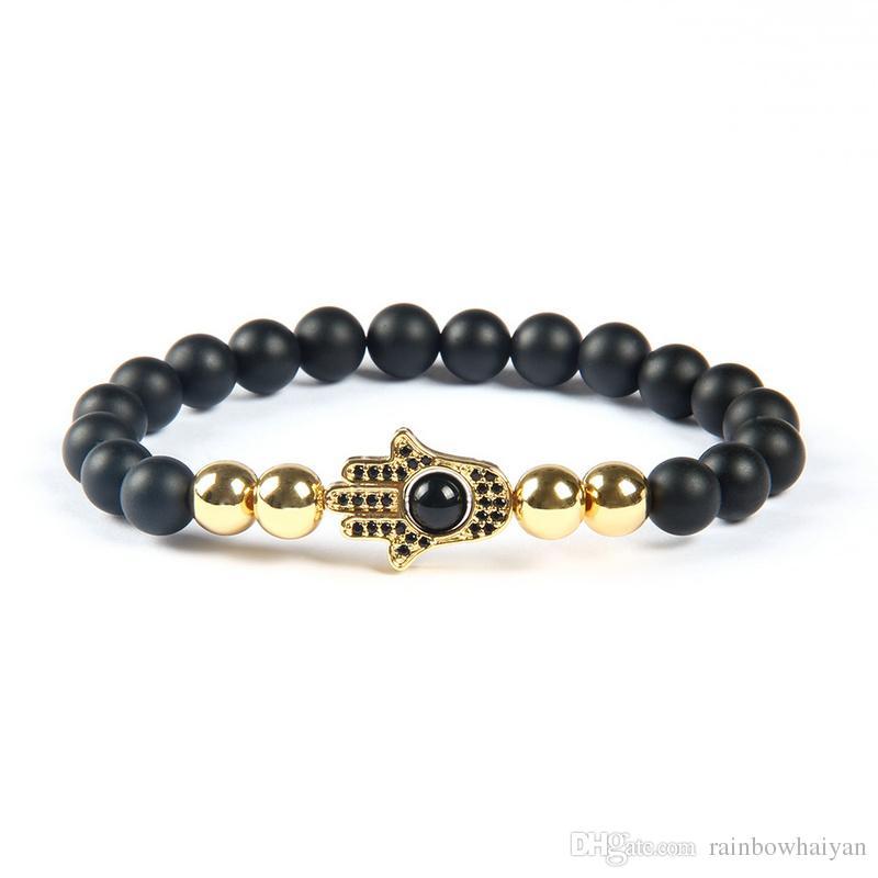 Potente gioiello economico in pietra di agata opaca all'ingrosso da 8 mm con bracciale di perline Hamsa nero Fat Fat Hand nero