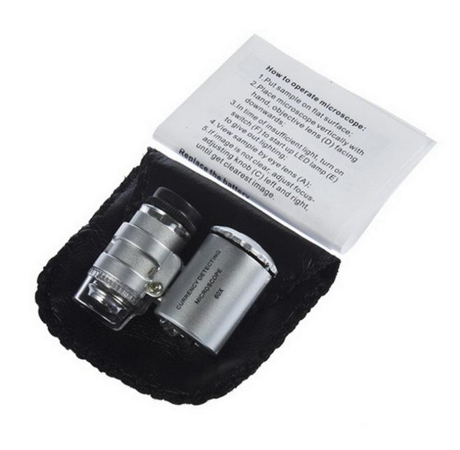 Avec une vérification de trésorerie LED lampe 60 fois Microscope Microscope Mini Bijoux d'affichage