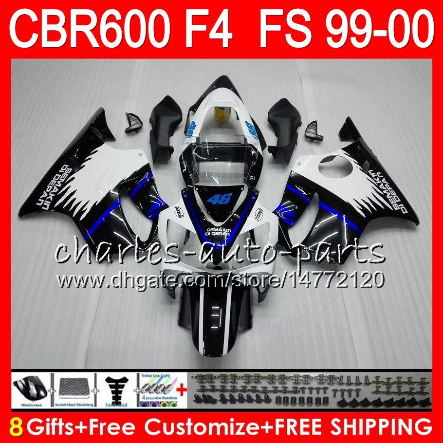 8Gifts 23Colors Bodywork For HONDA CBR 600F4 CBR600F4 99 00 FS 30NO91 black blue CBR 600 F4 99-00 CBR600FS CBR600 F4 1999 2000 Fairing Kit