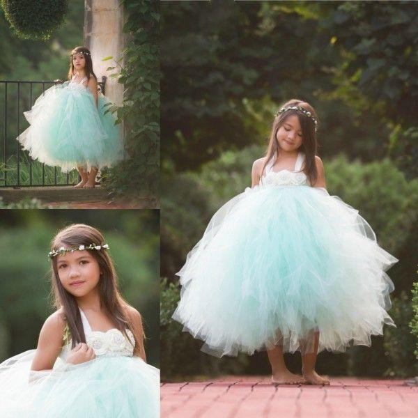 Mint Green Tulle Flower Girl Dresses