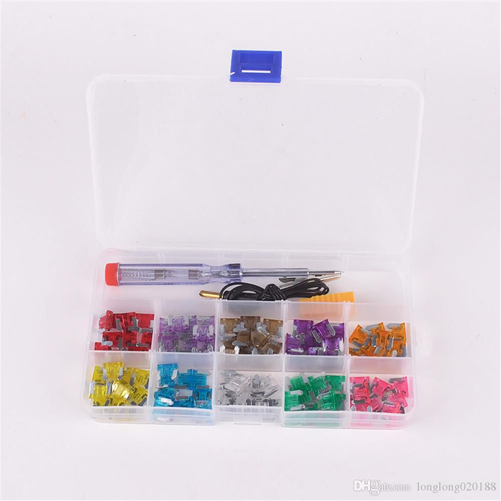 100Pcs car auto Blade Fuse Kit 3A 4A 5A 7.5A 10A 15A 20A 25A 30A 35A with Electrical Tester Electroprobe Fuse Dimensions:11mm x 4mm x 10mm