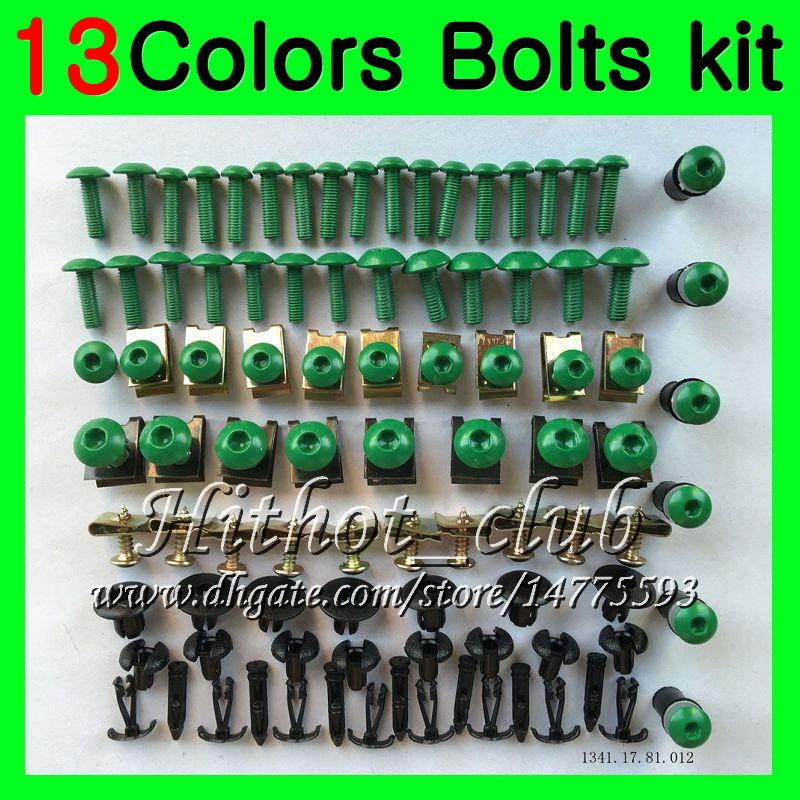 Kit completo de tornillos de carenado Para KAWASAKI NINJA ZX9R 94 95 96 97 ZX-9R 9 R ZX 9R 1994 1995 1996 1997 Tuercas de cuerpo tornillos tuerca juego de tornillos 13Colores