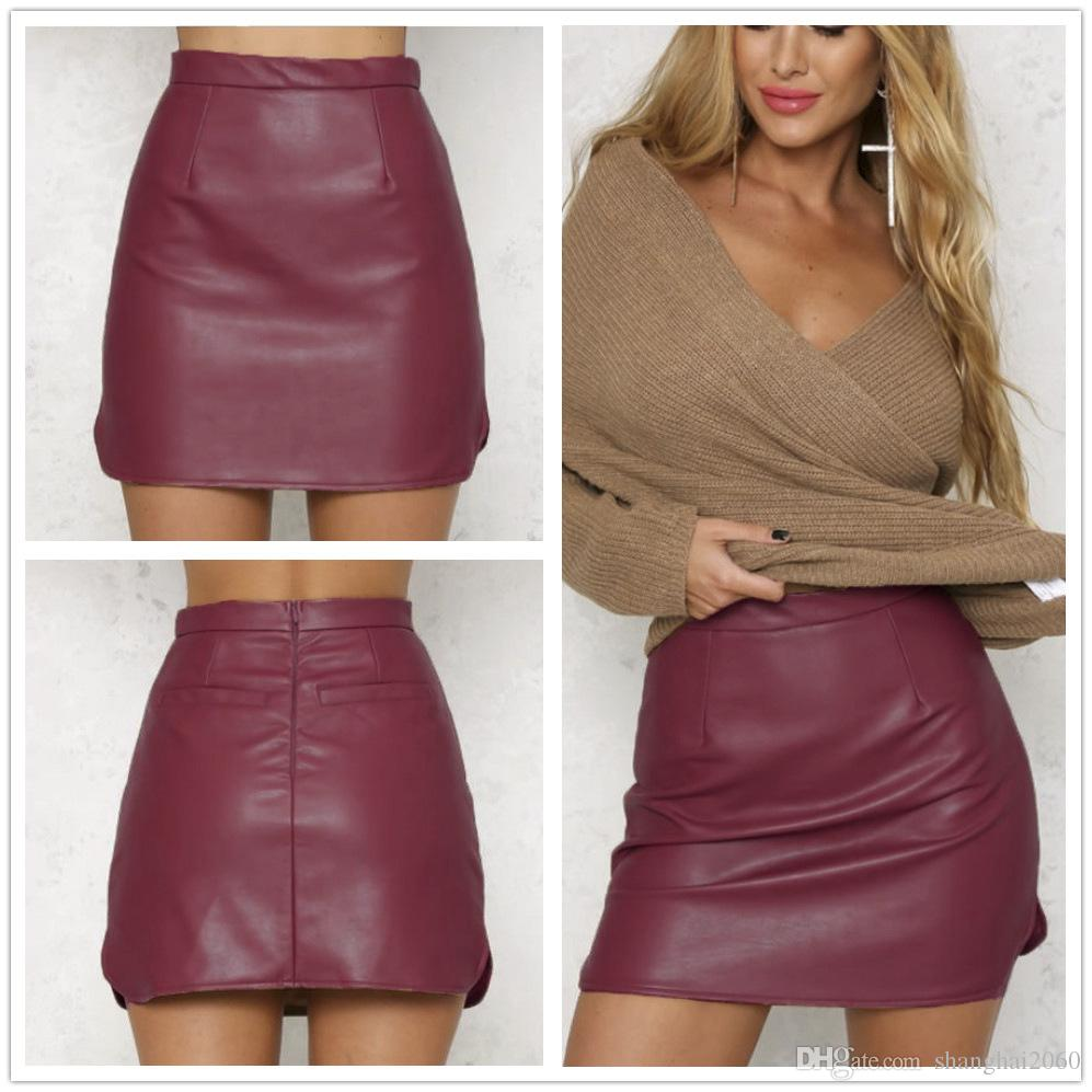 2017 Fashion Women Pu Leather Pencil Skirt Bodycon High Waist Lub ...