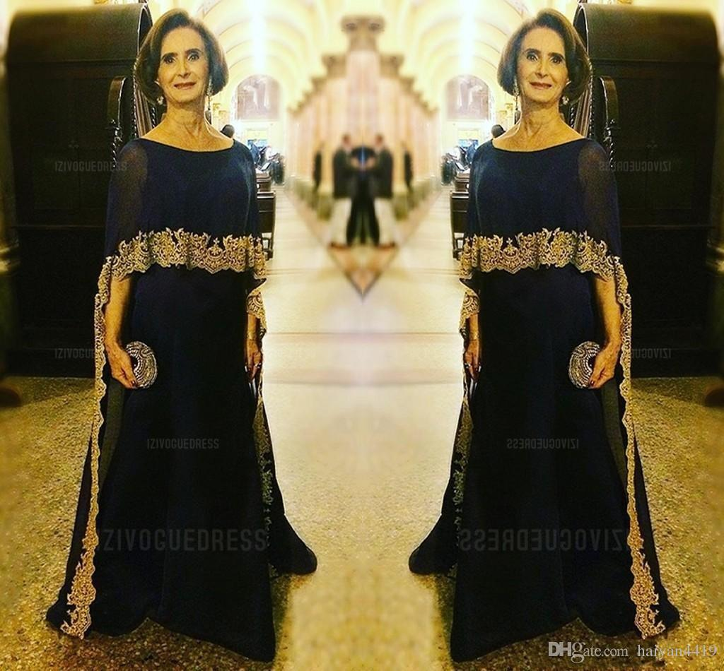 2020 Luxurious Navy Blue Mother Of The Bride Dresses Jewel Neck Gold Lace Appliques Chiffon Half Sleeves With Wrap Party Dress Evening Gowns