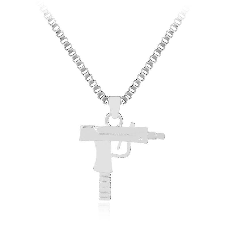 Wholesale Mix Color Hip Hop Long Necklace Gold Rose Plated Pistol
