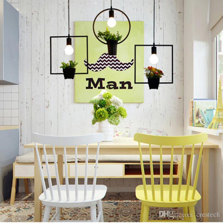 подвесные светильники комната кованого железа подвесные светильники геометрические растения горшок железа квадрат круглый подвесная люстра для декора ресторана